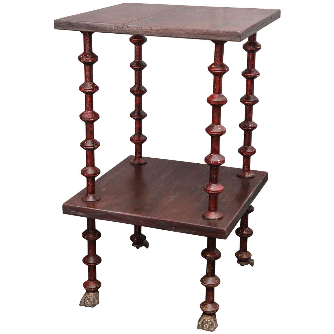 Victorian furniture table - 19th Century Victorian Pine Spool Table 1