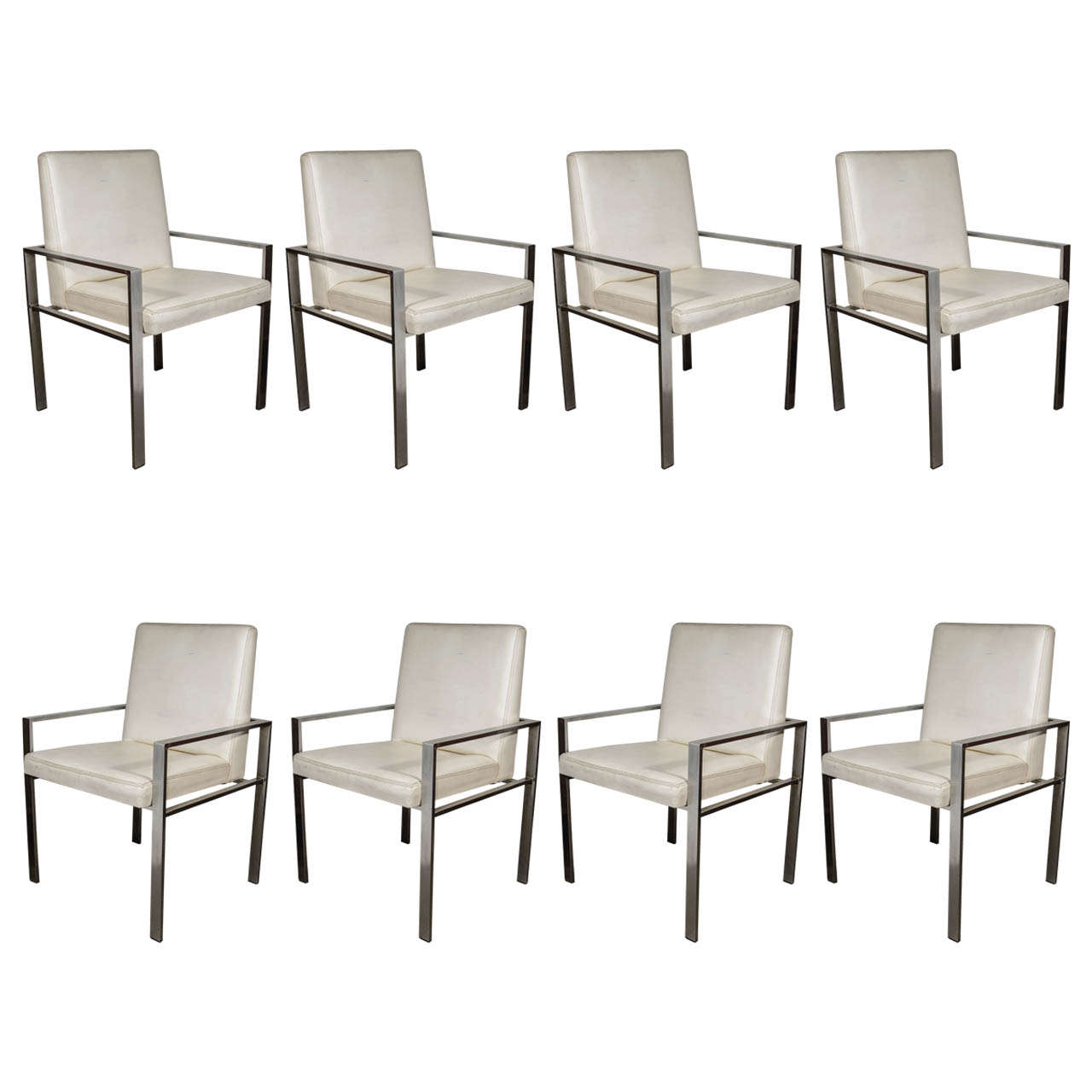 Set of Eight 1970s Aluminium Framed Dining Chairs
