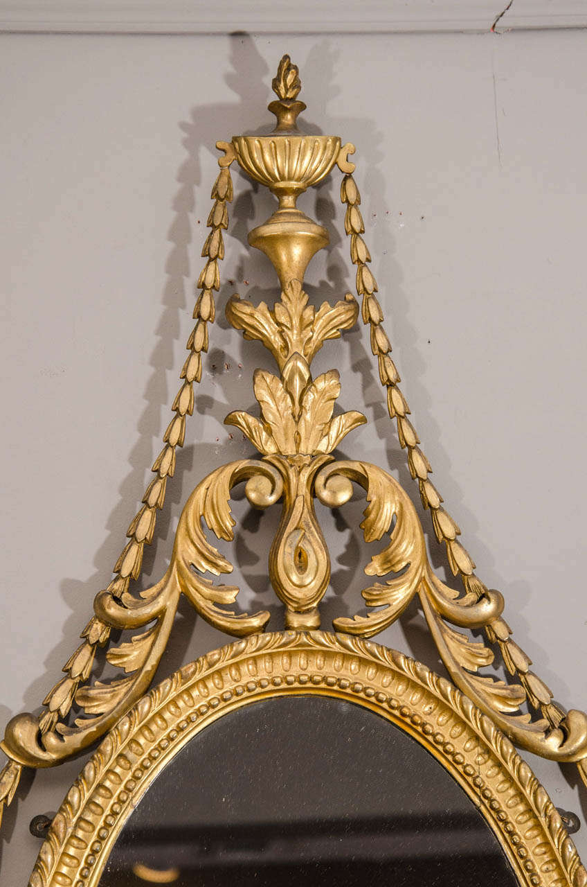 Pair of Late 19th Century English Adam Style Gilt Oval Mirrors For Sale 1