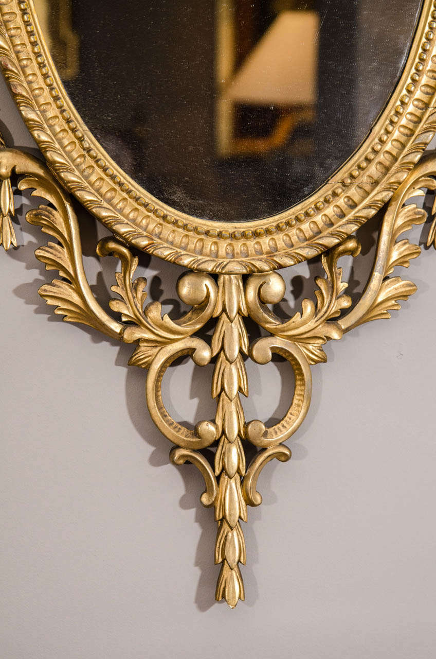 Pair of Late 19th Century English Adam Style Gilt Oval Mirrors For Sale 2