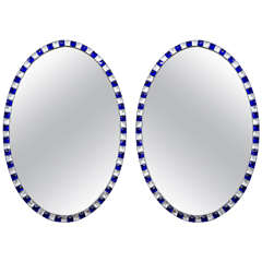 Pair of Irish Blue and White Glass Mirrors