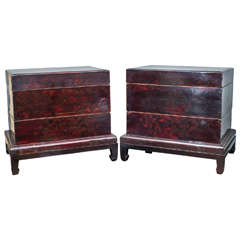 Pair of Rare Chinese Chests on Stand, circa 1870
