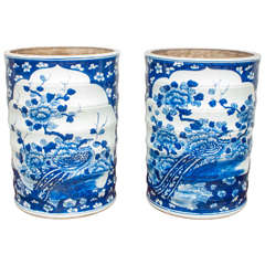 Pair of Blue and White Chinese Porcelain Jars