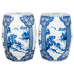 Pair of Blue and White Chinese Porcelain Garden Seats