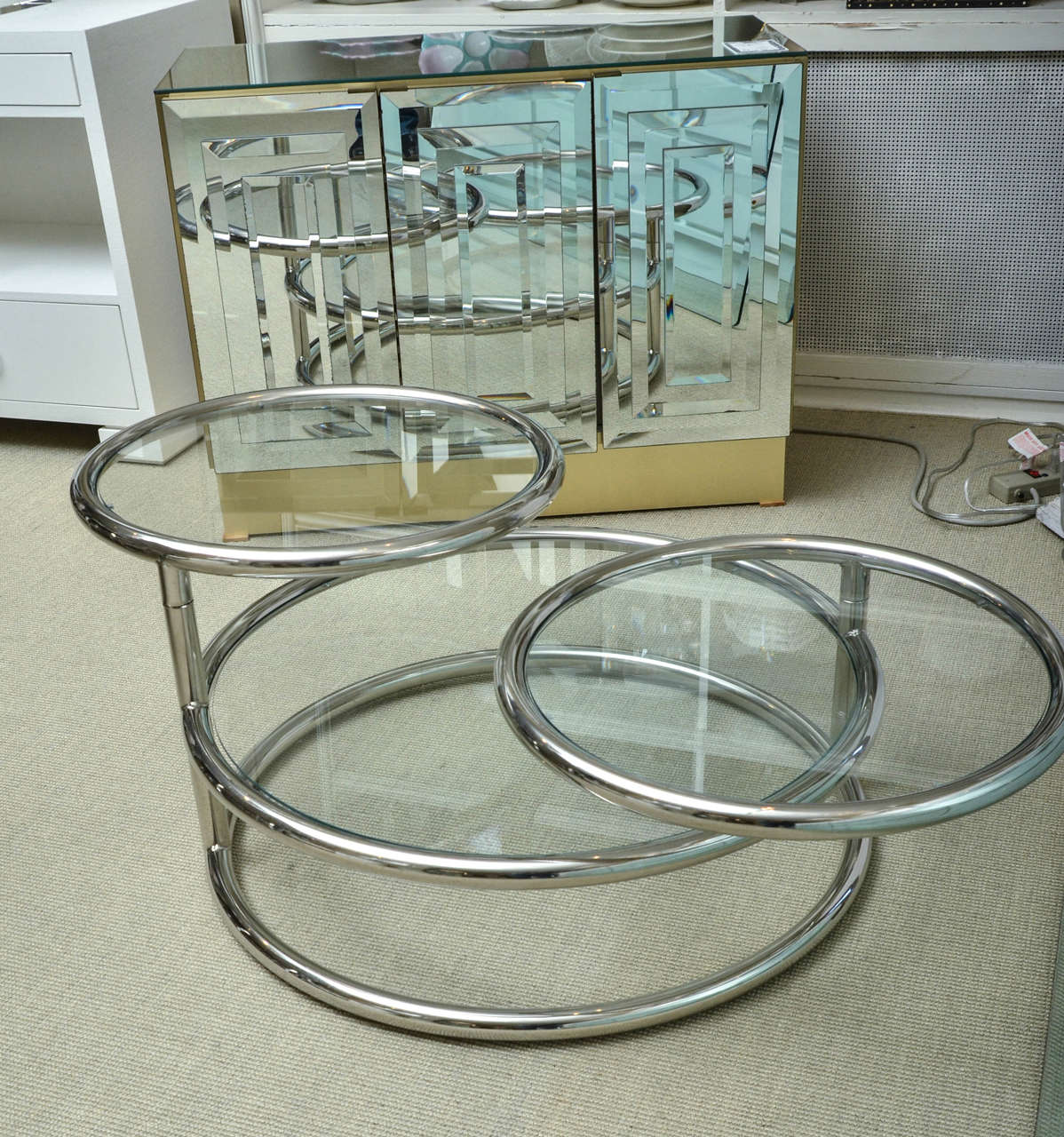 Mid century chrome and glass swivel three tiered coffee for Three tier glass coffee table