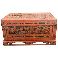 Late 19th Century Thai Lacquered Footed Document Box