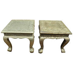 Turn of the Century Indian Hammered Silver Side Table with Queen Ann Legs