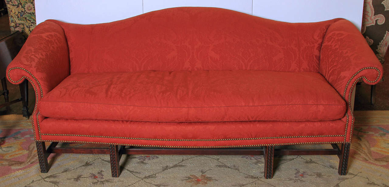 Carved English Chippendale Style Camel Back Sofa For Sale