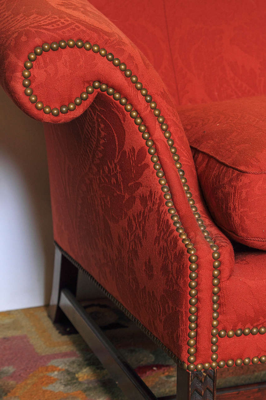 Fabric English Chippendale Style Camel Back Sofa For Sale