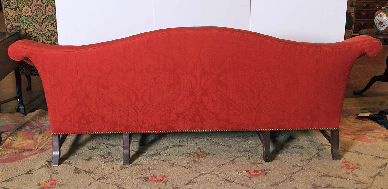 English Chippendale Style Camel Back Sofa For Sale 1