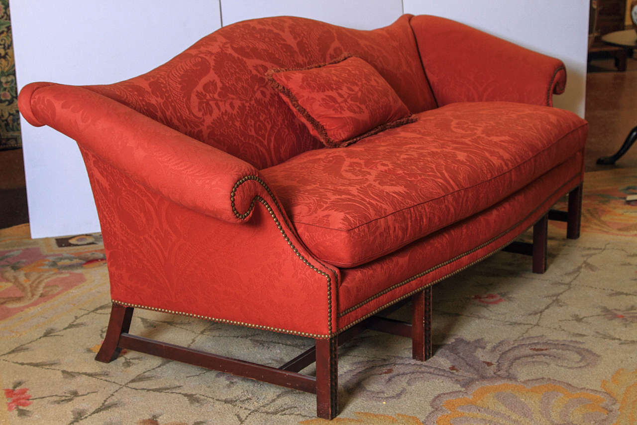 English Chippendale Style Camel Back Sofa For Sale 4