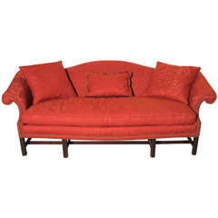 English Chippendale Style Camel Back Sofa