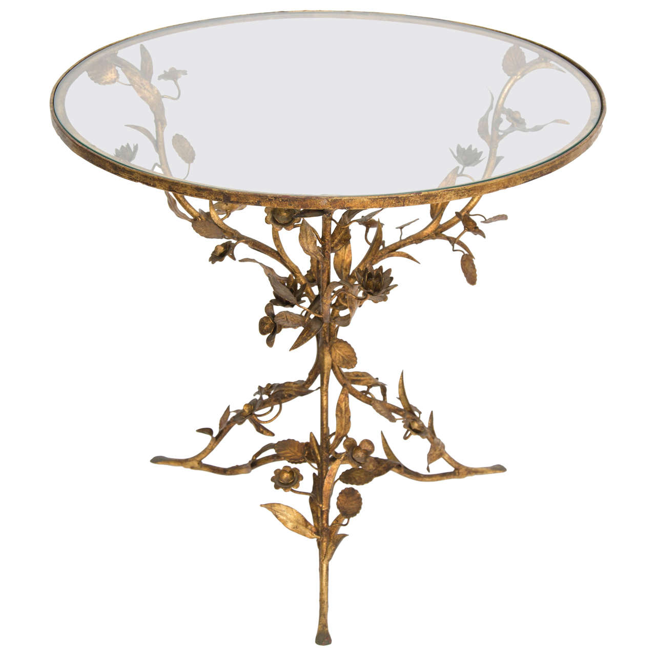 Decorative Metal And Glass Side Table At 1stdibs