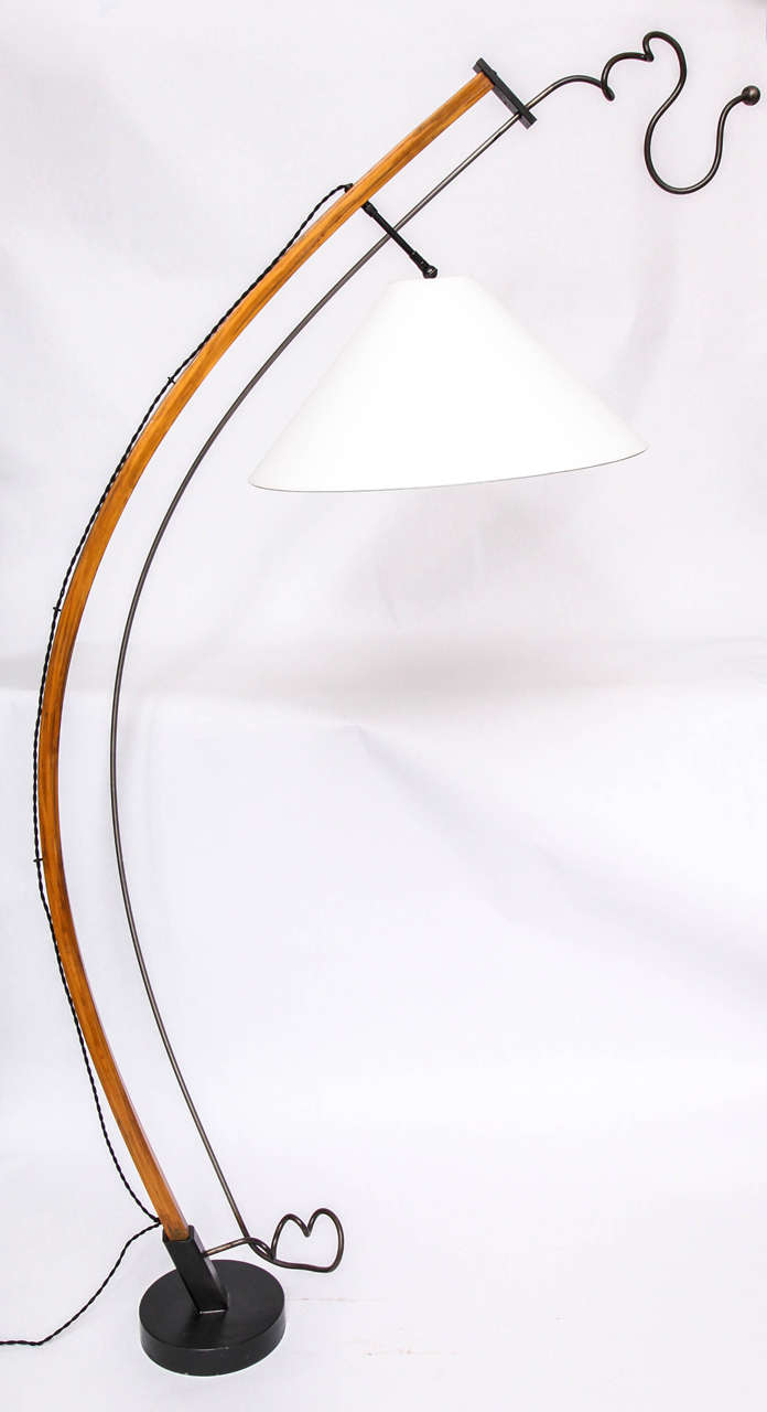 Floor Lamp Mid Century Modern Sculptural wood and iron 1970's New Sockets and Rewired