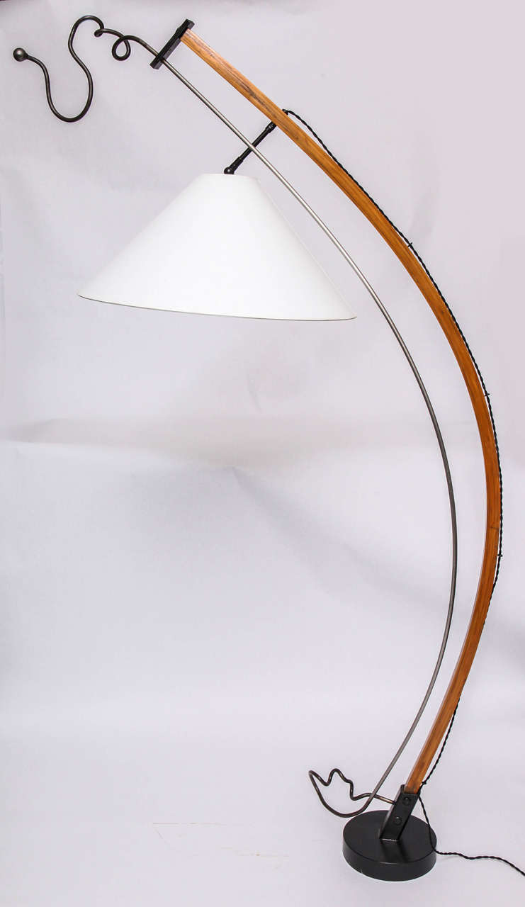 Mid-Century Modern  Floor Lamp Mid Century Modern Sculptural wood and iron 1970's For Sale