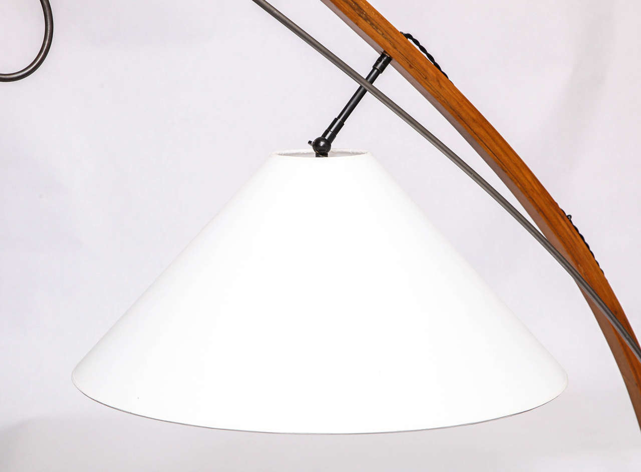 Floor Lamp Mid Century Modern Sculptural wood and iron 1970's In Good Condition For Sale In New York, NY
