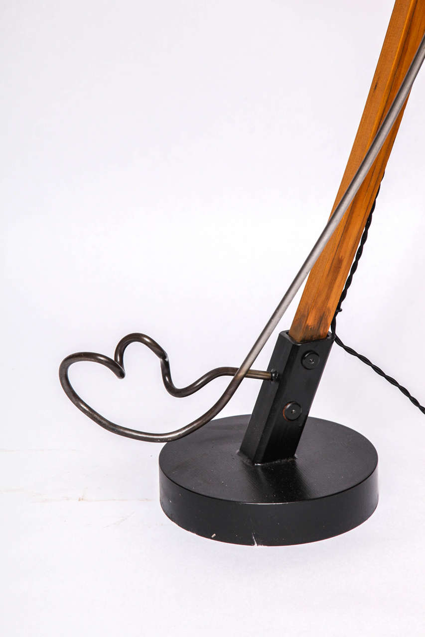 Hand-Crafted  Floor Lamp Mid Century Modern Sculptural wood and iron 1970's For Sale
