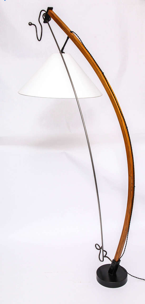 Wood  Floor Lamp Mid Century Modern Sculptural wood and iron 1970's For Sale