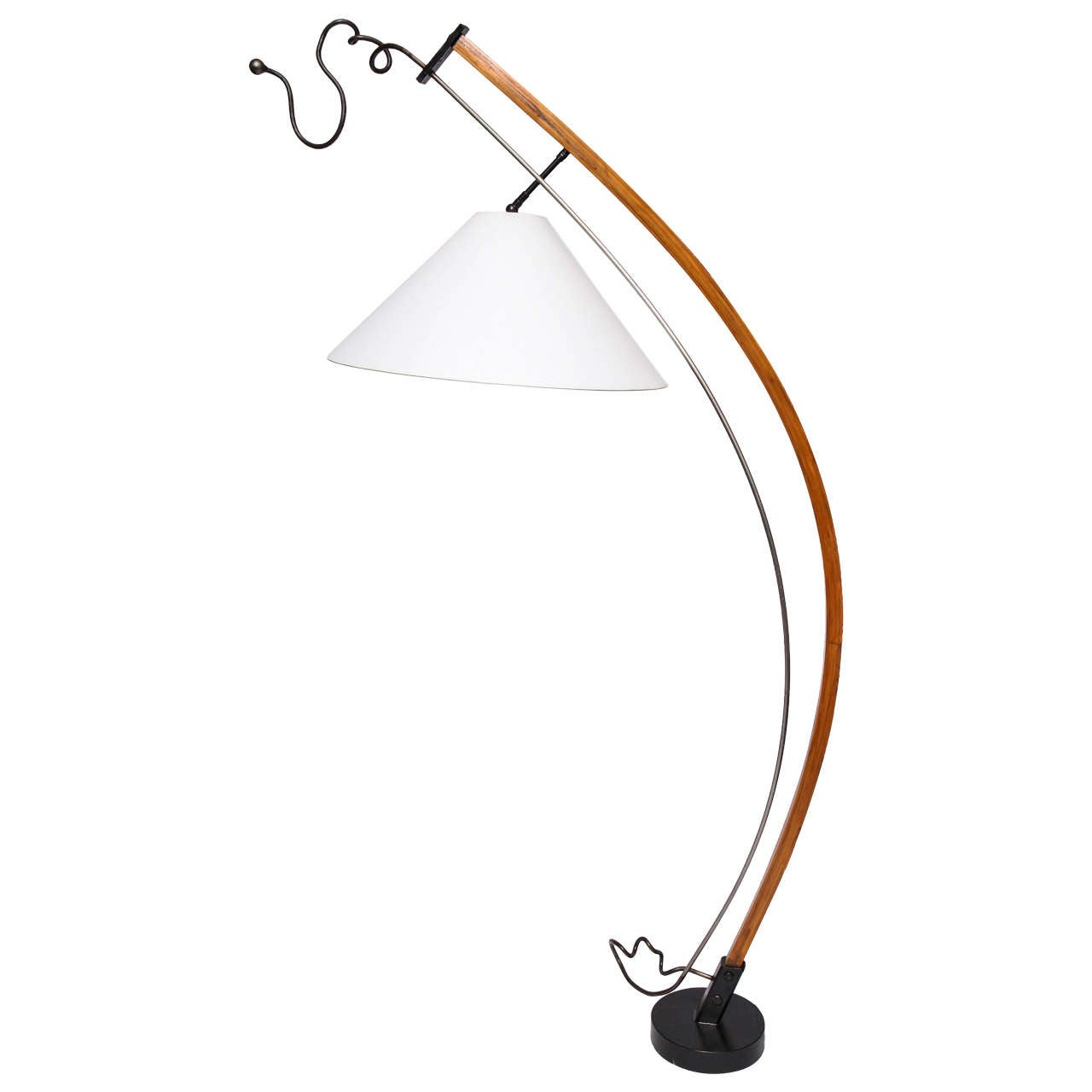 Floor Lamp Mid Century Modern Sculptural wood and iron 1970's For Sale