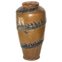 1920s Monumental Japanese Ceramic Tall Vase