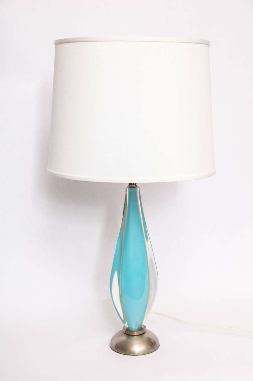 A 1960s Italian art glass table lamp by Salviati. Shade not included
