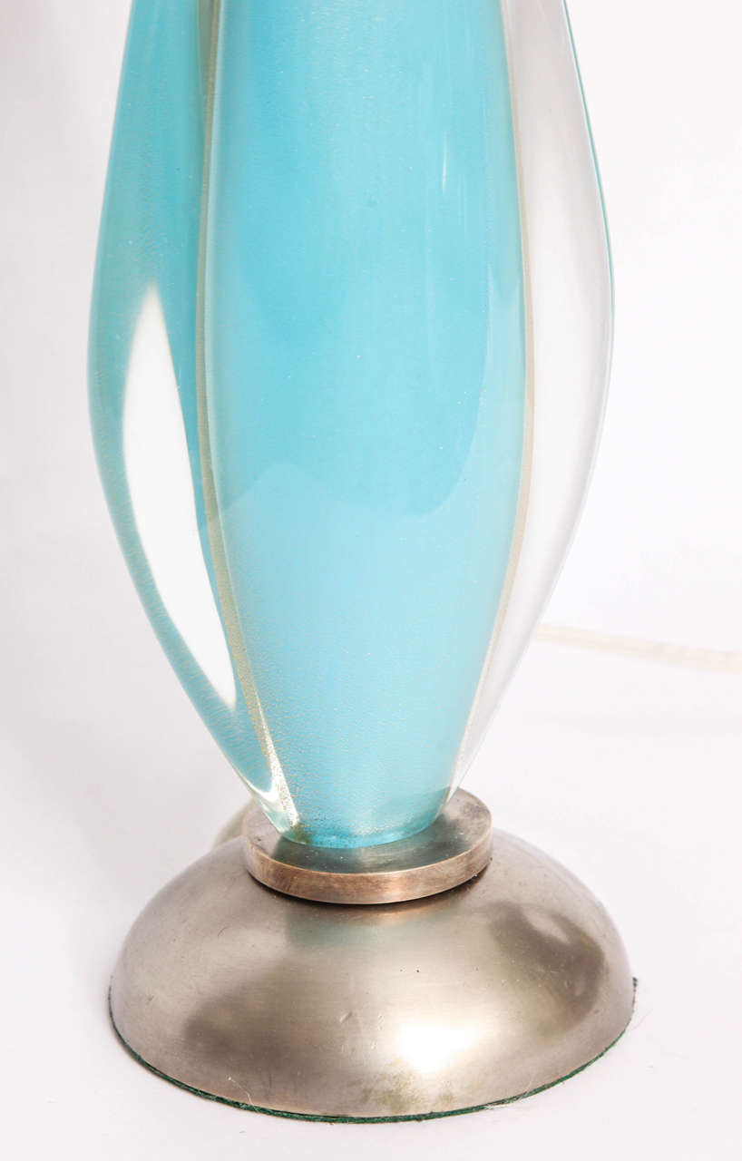 1960s Italian Art Glass Table Lamp by Salviati For Sale 1