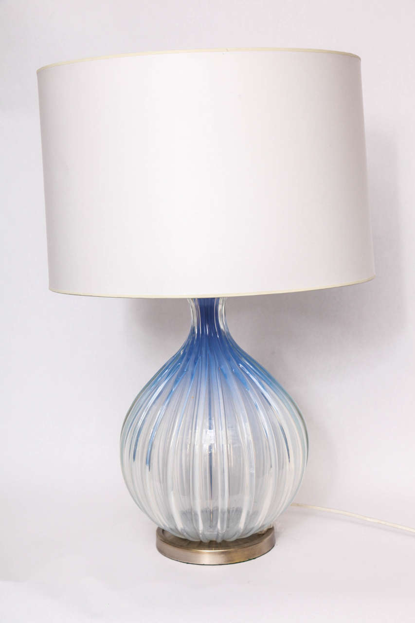 A 1950s, Italian art glass table lamp by Seguso. Shade not included