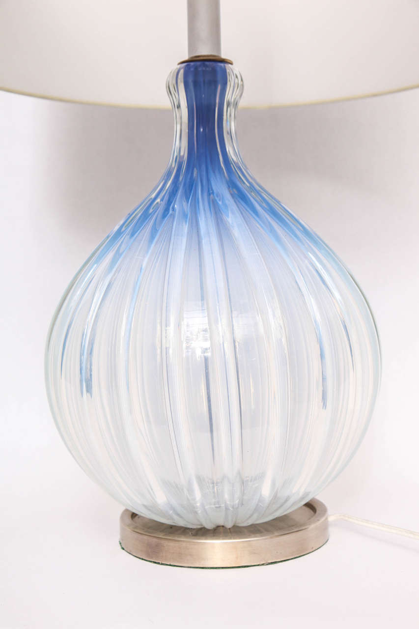 1950s, Italian Art Glass Table Lamp by Seguso For Sale 1