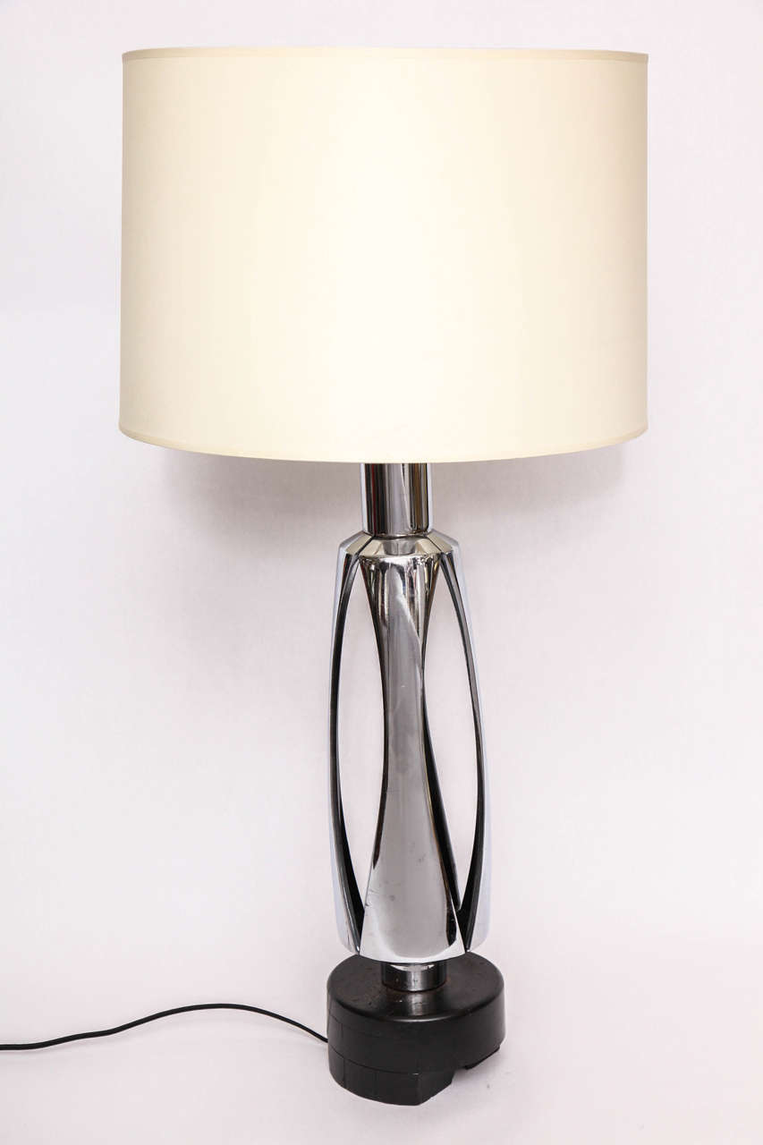 Original 1970s Futuristic Polished Nickel Table Lamp At 1stdibs