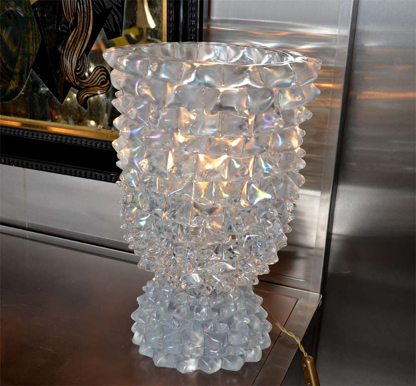 Italian Huge Murano Glass Table Lamp in the Style of Ercole Barovier For Sale