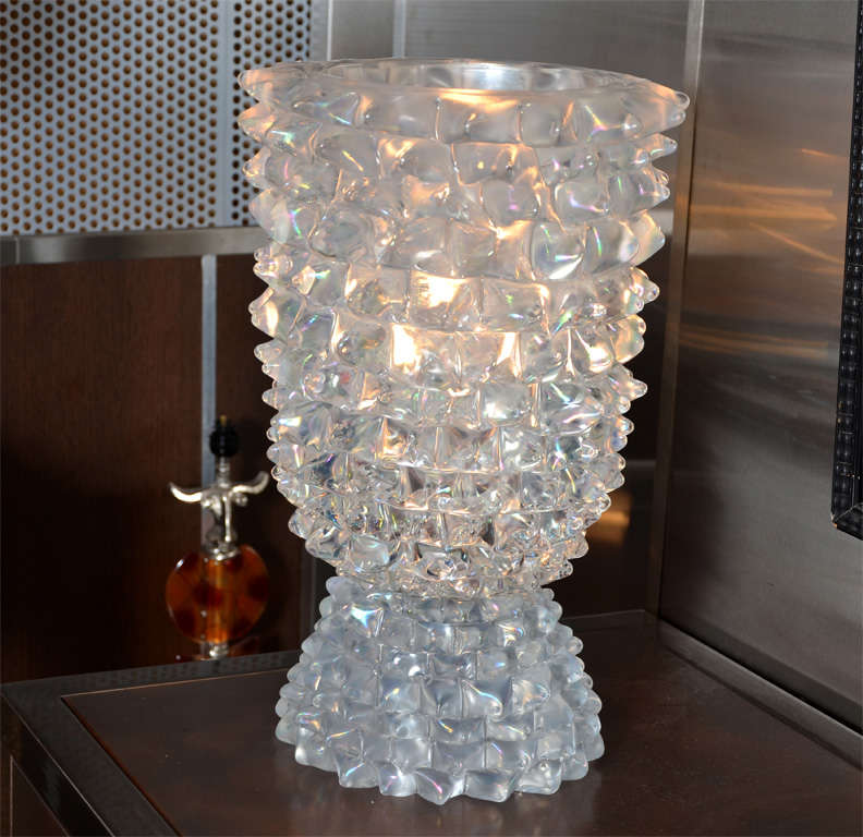 Huge Murano Glass Table Lamp in the Style of Ercole Barovier In Excellent Condition For Sale In Bois-Colombes, FR