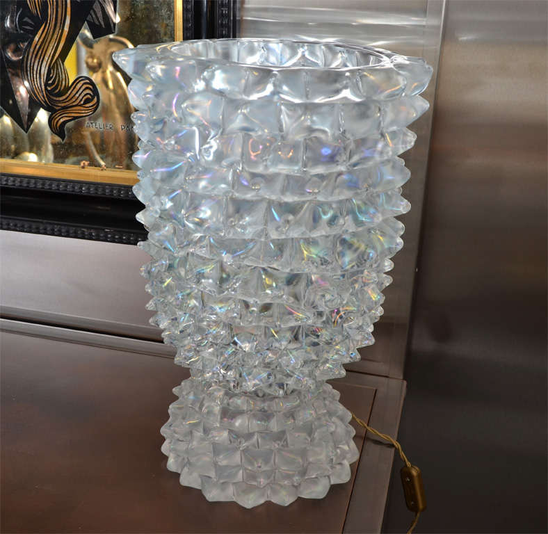 Late 20th Century Huge Murano Glass Table Lamp in the Style of Ercole Barovier For Sale