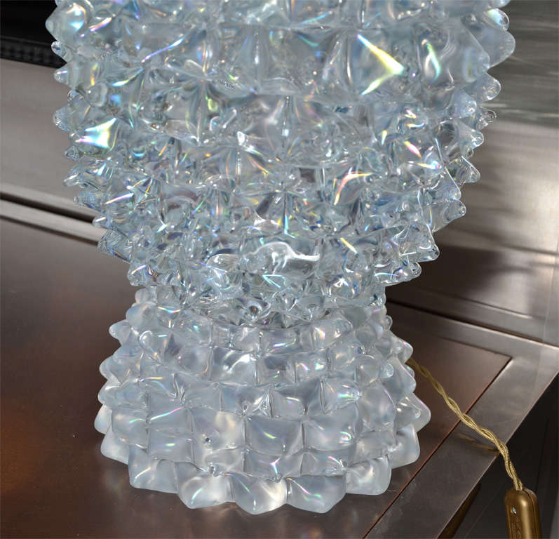 Huge Murano Glass Table Lamp in the Style of Ercole Barovier For Sale 1