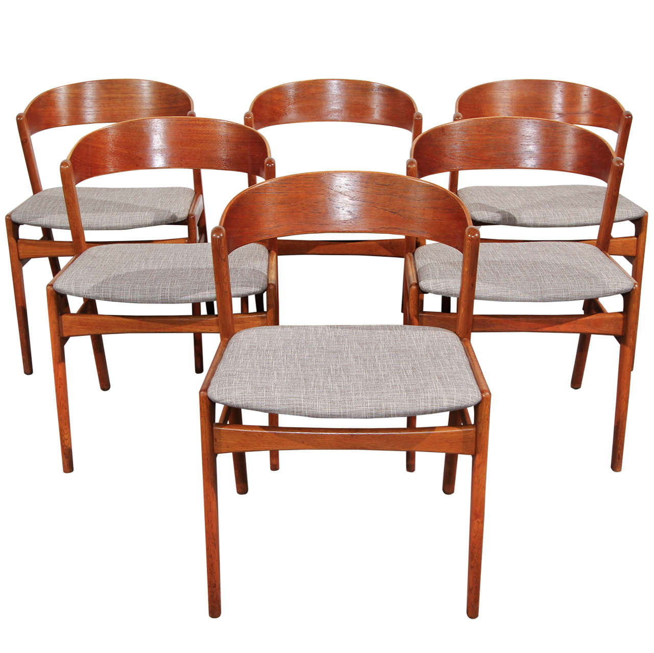 set of 6 ribbon back teak dining chairs by dux at 1stdibs