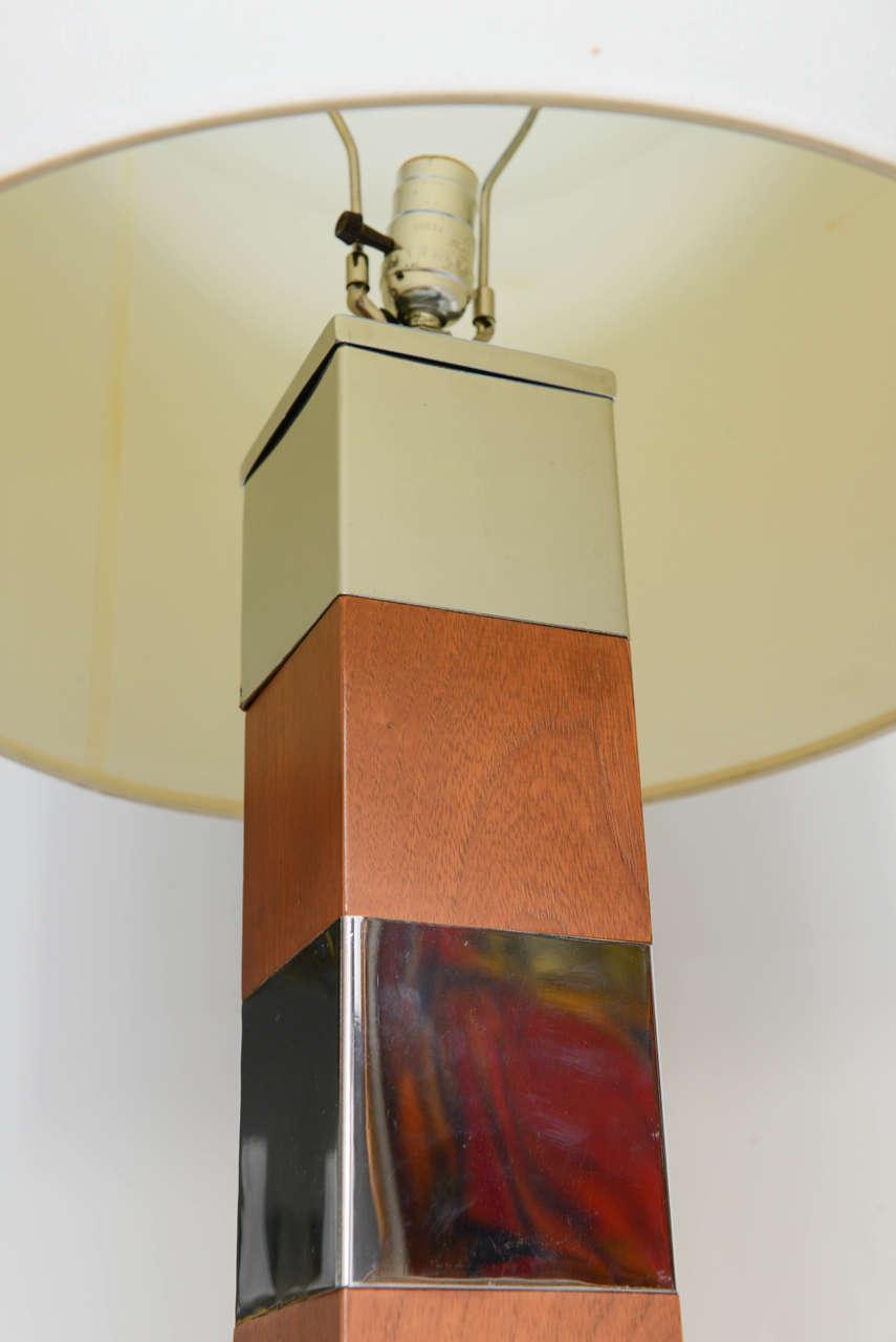 Designer Wood And Chrome Floor Lamp For Sale At 1stdibs