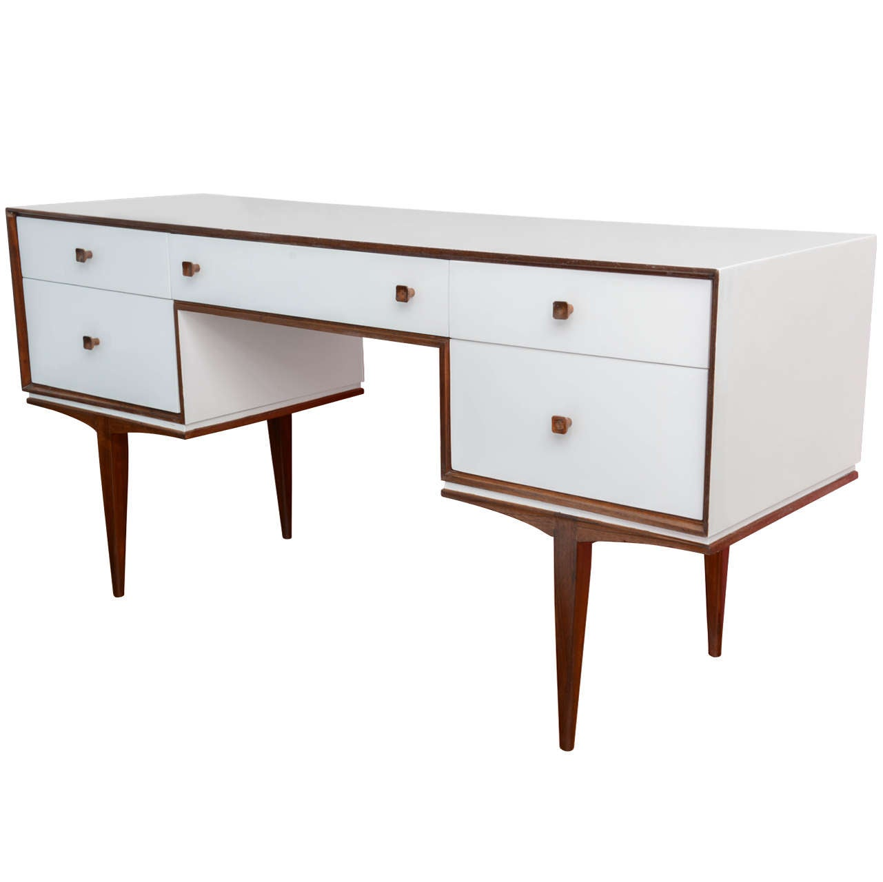 Vintage Danish Modern Teak And White Lacquered Writing