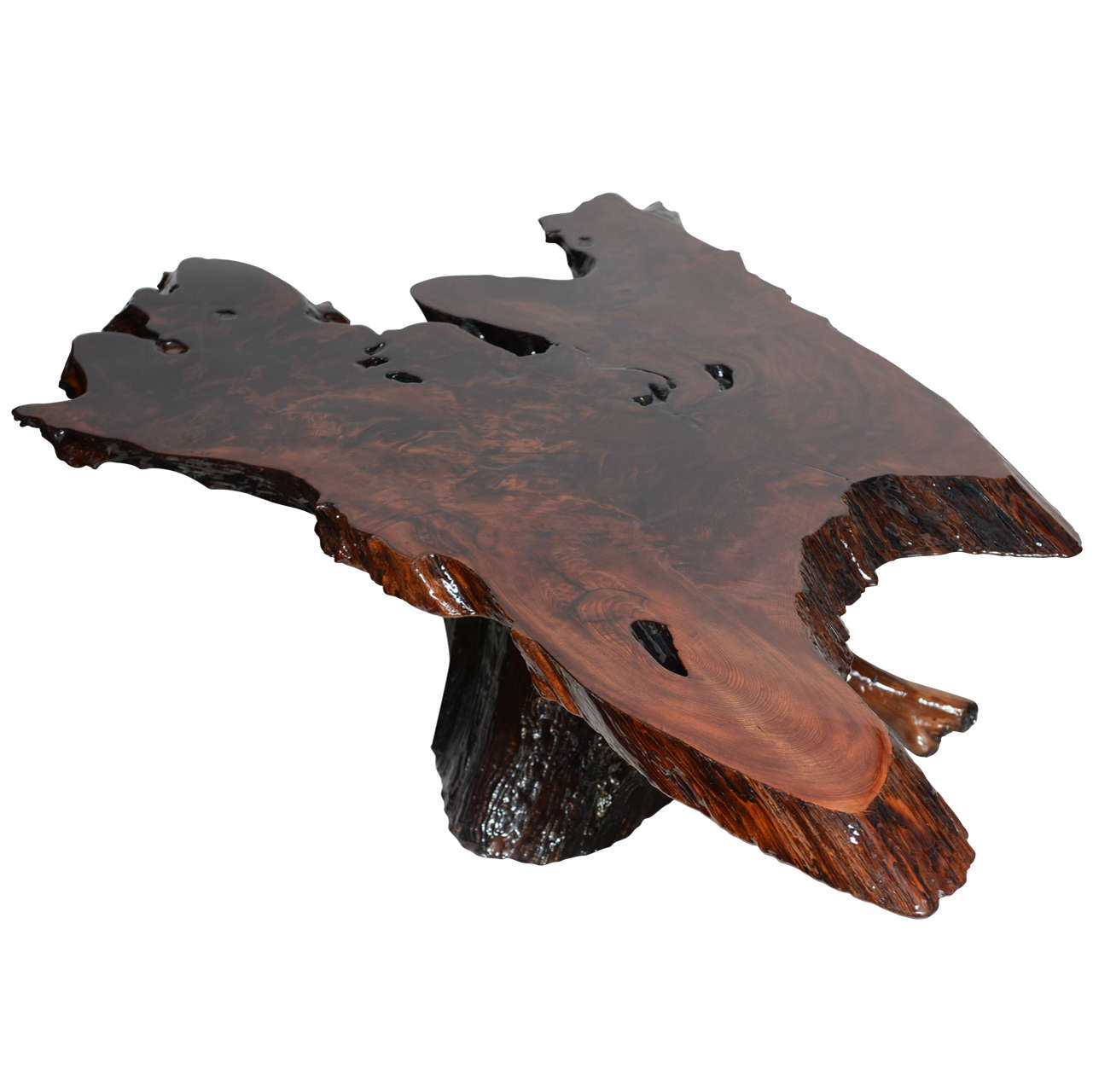 vintage tree trunk resin coffee table 1