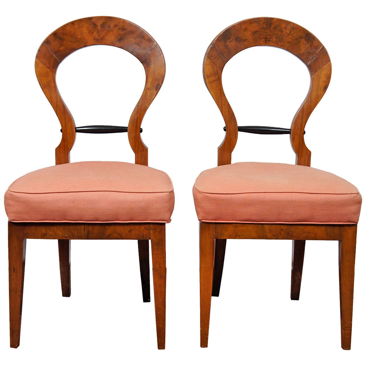 Pair Of Italian Biedermeier Style Side Chairs At 1stdibs