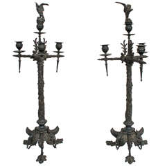 A Fine Pair of Cast Bronze French Napoleon III Candelabra