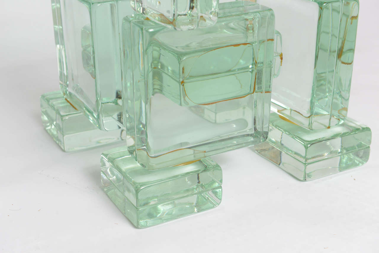 Sculptural Glass Block Cocktail Table At 1stdibs