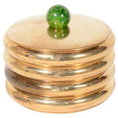 Art Deco Lidded Stacked Coaster Set in Copper & Bakelite