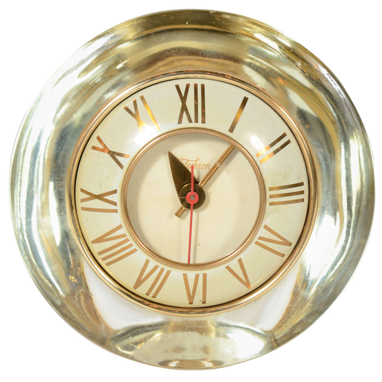 Modernist Gold Mercury Glass Clock by Telechron at 1stdibs