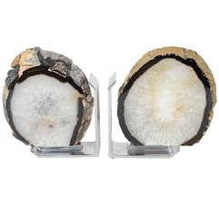 Pair of Sliced Geode Bookends in Brushed Nickel Mountings