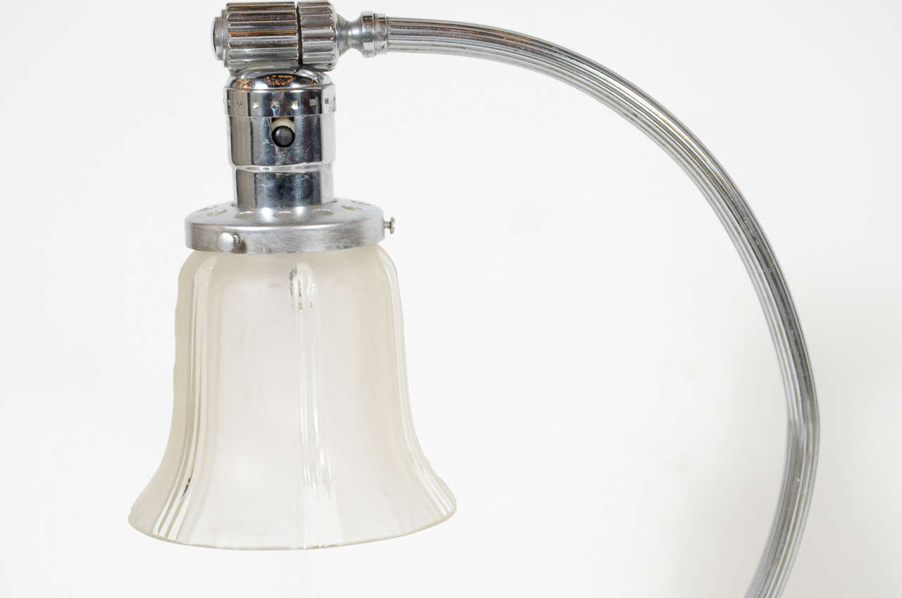 Art Deco Machine Age Frosted Glass and Chrome Table Lamp For Sale 2
