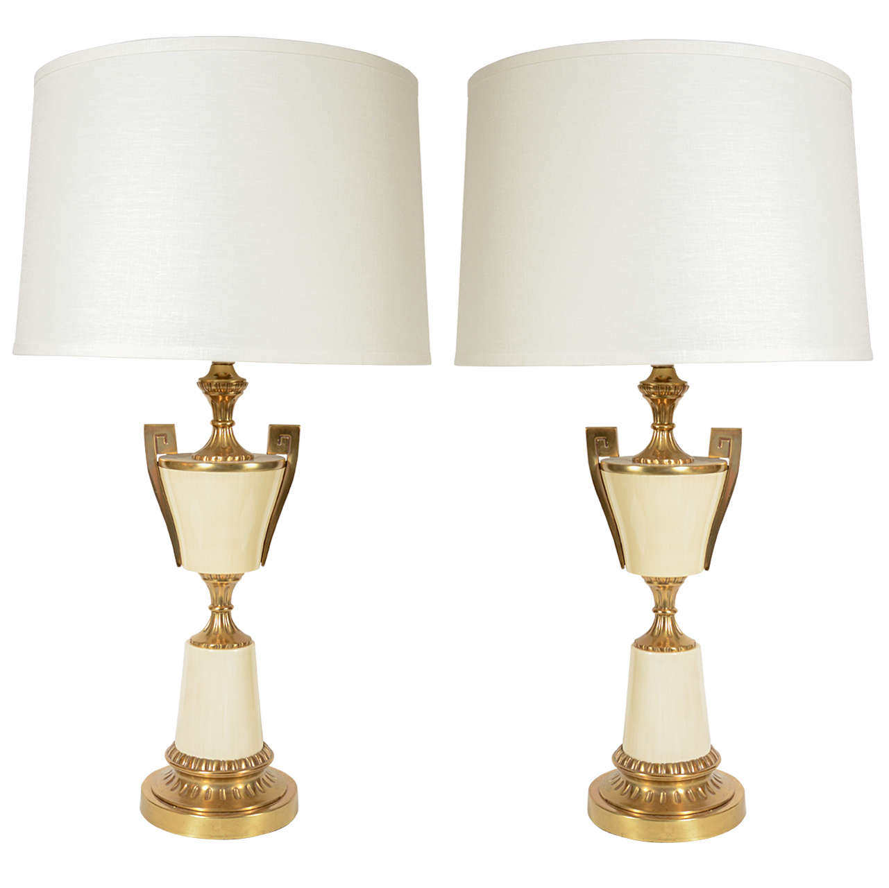 Pair of Impressive  Modernist Urn and Greek Key Lamps