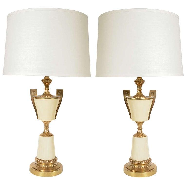 Pair of Mid Century Modern Greek Key Urn Lamps in Enamel & Brushed Brass For Sale