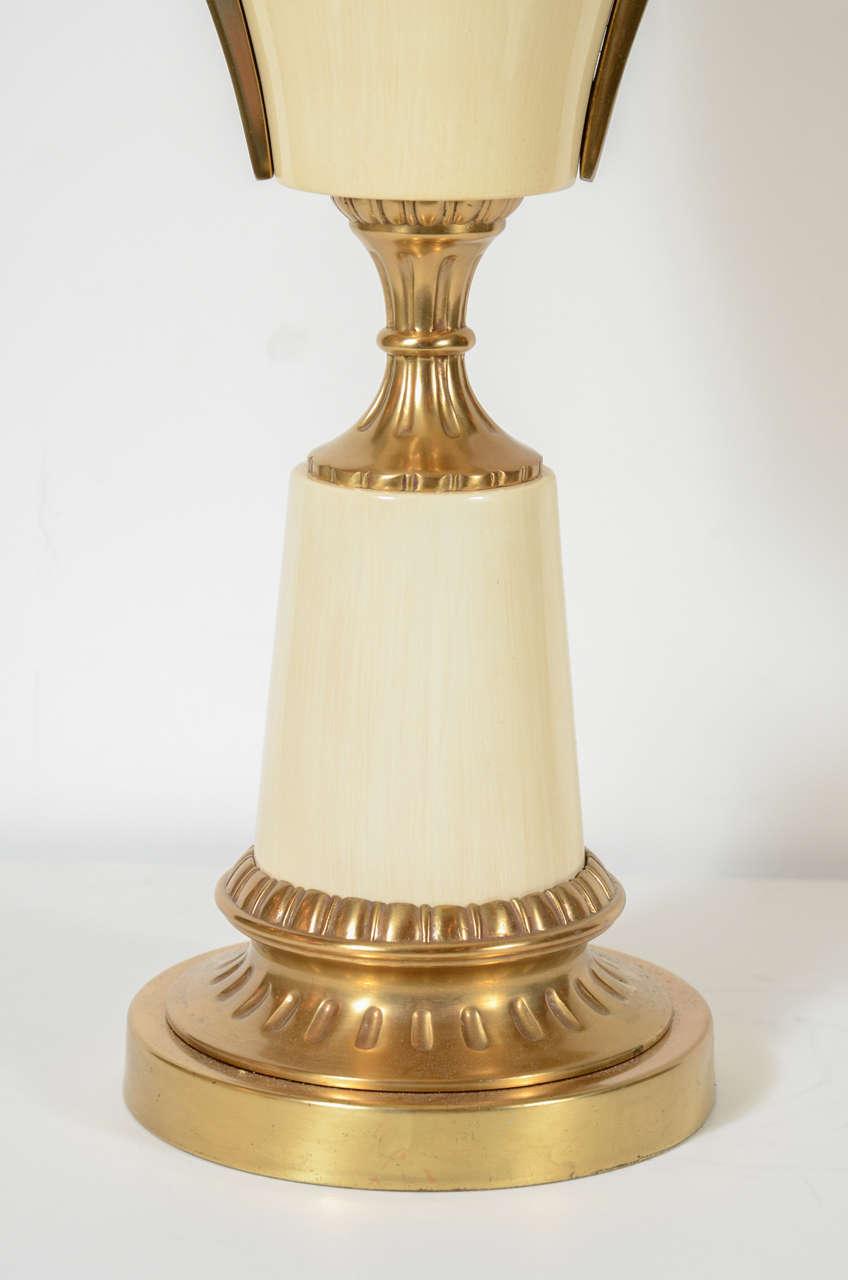 Mid-Century Modern Pair of Mid Century Modern Greek Key Urn Lamps in Enamel & Brushed Brass For Sale