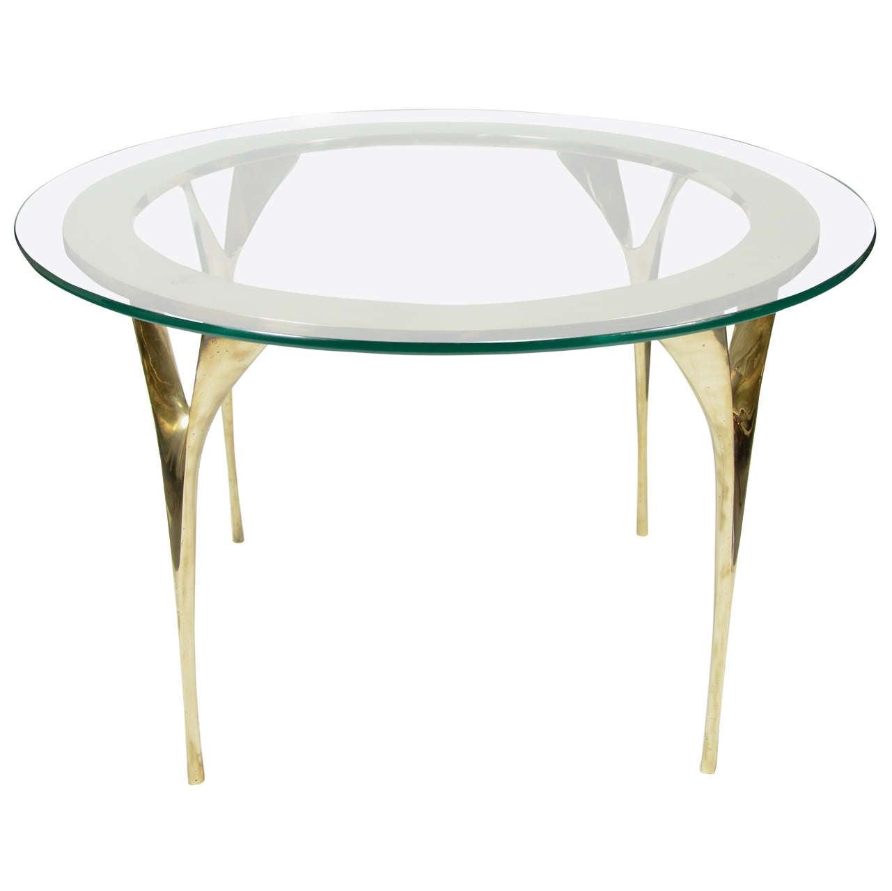 Coffee Table Leg Broken: Modernist Sculptural Brass Stiletto Leg Cocktail Table At