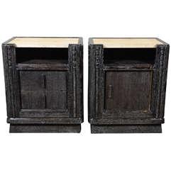 Pair of of Deco Silver Cerused Oak & Siena Travertine Top Night Stands/EndTables