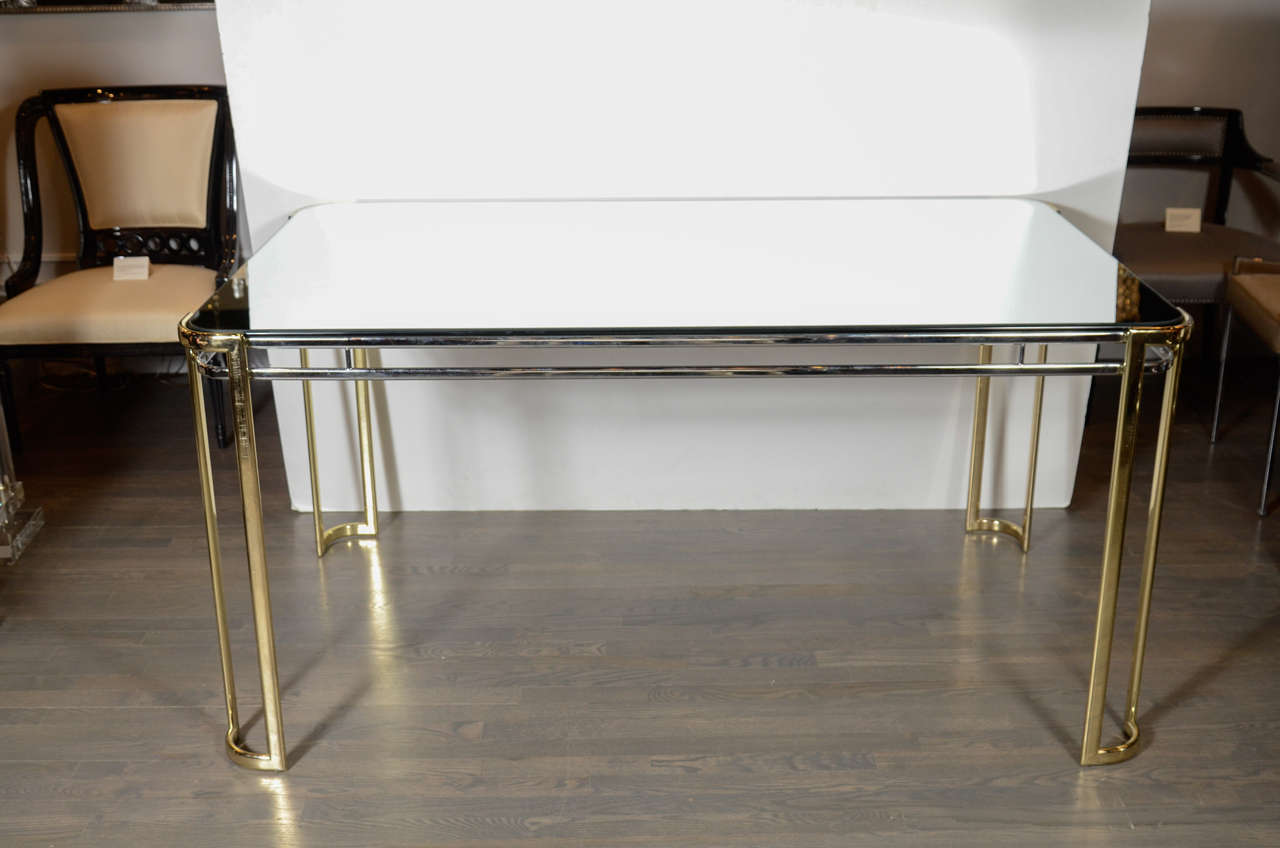 Modernist Mid-Century Polished Brass and Chrome Mirrored Dining Table 2